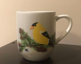 Bird Mug with Goldfinch