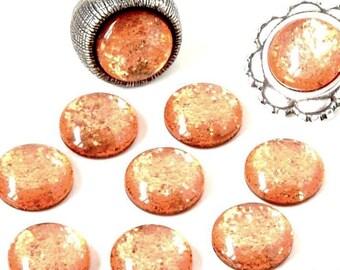 Cabochon resin - Glitter - circular (12mm) - Orange - CABSYRD12ORA959