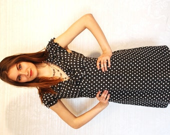 POLKA DOTS Dress / Dark Grey & White Spot Dress / Elegant Crepe Dress / sz Medium to Large