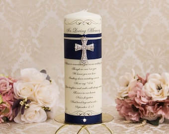Personalized Memorial Candle Navy Blue Memorial Candles