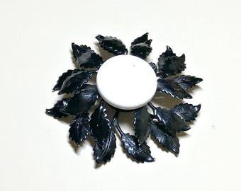 Vintage flower brooch, black and white enamel dimensional flower brooch, vintage mod flower brooch, black and white flower brooch, 1960s-70s