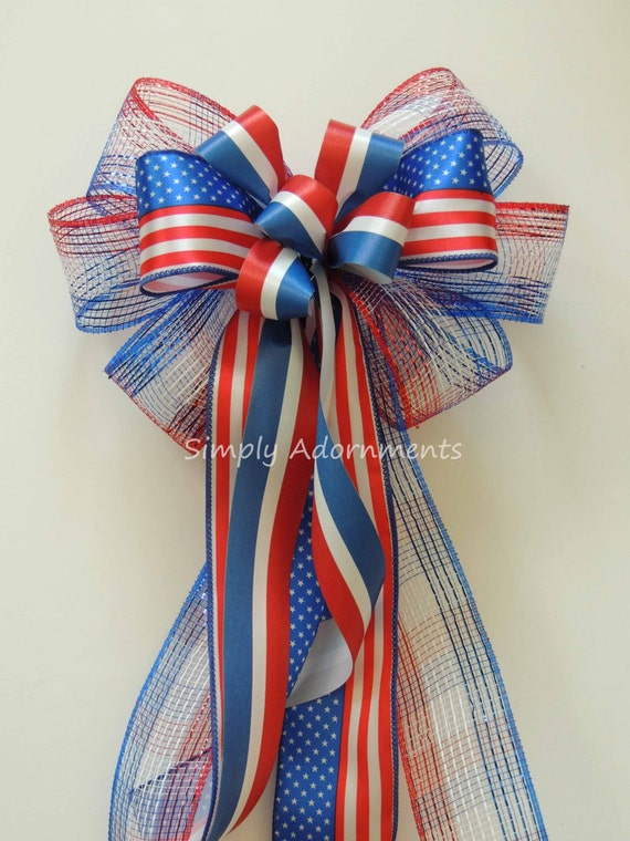 Patriotic Wreath Bow 4th of July Wreath Bow Red white and blue Wreath bow July 4th door decor Memorial Day Decoration Independence Day Decor