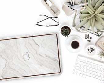 Macbook Pro 13 Case . White Marble and Rustic Wood . Macbook Air Case . Laptop Case . Macbook Case . Dark Primavera Wood . Natural Series