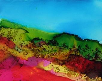 Digital Download painted landscape alcohol ink art original # 137