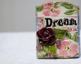 DREAM mosaic art, mosaic wall art, pique assiette