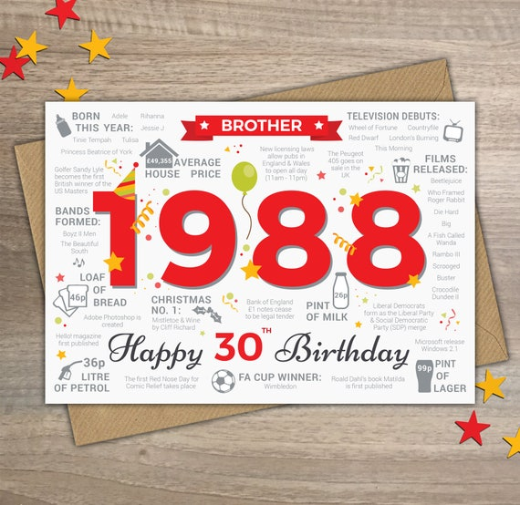 Happy 30th birthday brother greetings card born in 1988 year like this item bookmarktalkfo Images