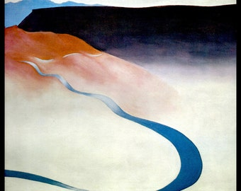 1964 Georgia O'Keeffe Print, Road Past The View, Original Vintage Book Color Plate, Ready To Frame