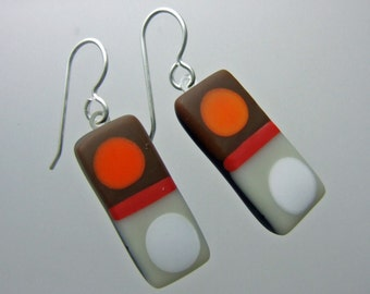Chocolate Tic Tac Matte Glass Earrings, Handmade Fused Glass Jewelry from North Carolina