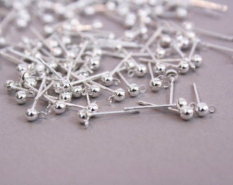 20 - 3mm Antique Silver Plated Ball and Loop Earring Studs (3051508)