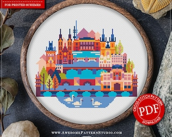 Prague  Cross Stitch Pattern for Instant Download *P140 | Easy Cross Stitch| Counted Cross Stitch|Embroidery Design| City Cross Stitch