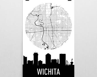 Wichita Skyline, Wichita Map, Wichita Skyline Art, Wichita Canvas Art, Wichita City Map, Wichita KS, Wichita Kansas, Wichita Print, Poster