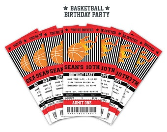 Basketball Ticket Invitation Printable - Instant Download Editable PDF