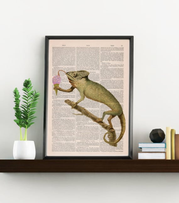 Funny Art print Chameleon licking an ice cream ball- Home decor,  Animal art printed on Vintage Book wall art ANI223bX