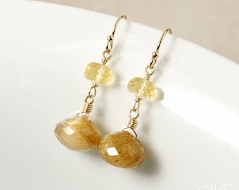Golden Rutile Quartz and Yellow Citrine Drop Earrings - 14Kt Gold Filled - Rutilated Quartz Earrings, Dangle Earrings