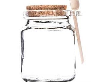 8oz Clear Glass Jar with Cork Lid & Wood Spoon
