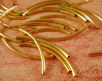 25 Gold Curved Tube Beads 20x1mm Gold Plated Brass 1mm hole - 25 Pc - F4092LK-G25