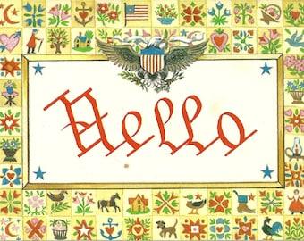 Vintage 1970s Postcard Hello Americana Stitch Sampler Patriotic Eagle Illustrated Card Photochrome Era Postally Unused