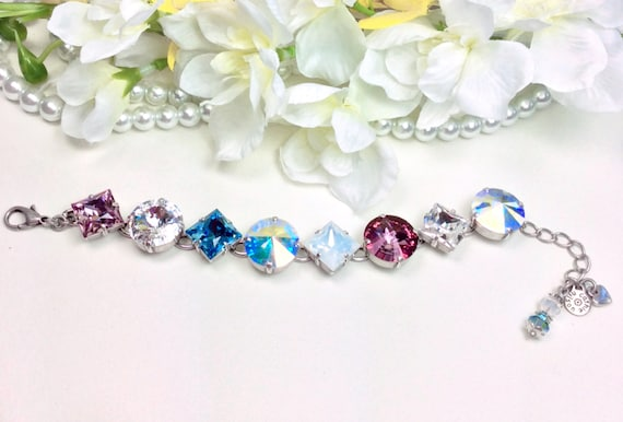 "Swarovski Crystal ""Big Bling"" 16mm(!) and 12mm Princess Squares Bracelet - Designer Inspired - Sparkling Summery Colors - FREE SHIPPING"