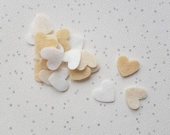 Felt Heart Wedding Confetti mix, table confetti, match wedding colours, die cut felt shapes, wedding decor, bridal confetti, shabby chic