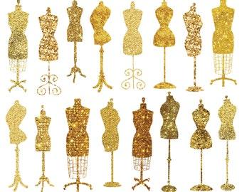 Vintage Dress Form Clip Art, Fashion Party Theme Invitation Clipart, Gold Glitter Clipart Instant Download