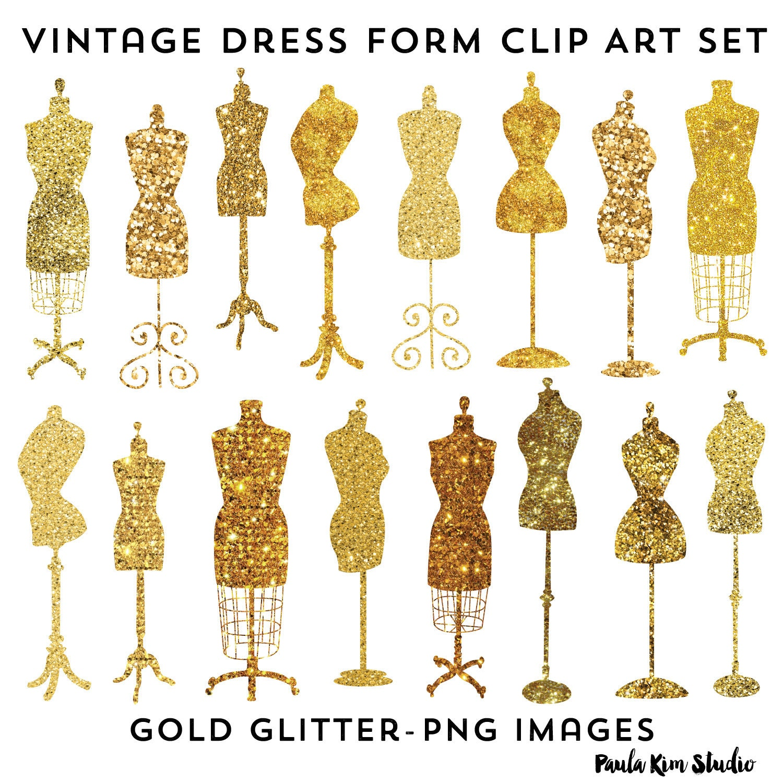 vintage dress form clip art fashion party theme invitation rh etsy com Dress Form Illustration Dress Form Different Sizes