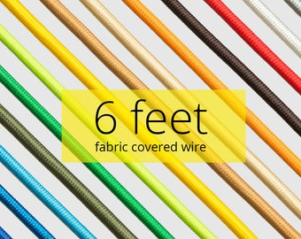 Fabric Covered Wire | 6 feet | DIY | Textile Cable | Color Cord | Retro | Loft | Industrial | Pendant | Swag | Lamp