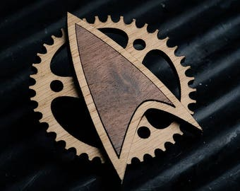 Wooden Steampunk Starfleet Badge - star trek inspired