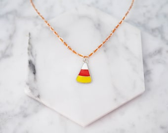 Candy Corn Necklace, Halloween Necklace, Candy Corn Charm