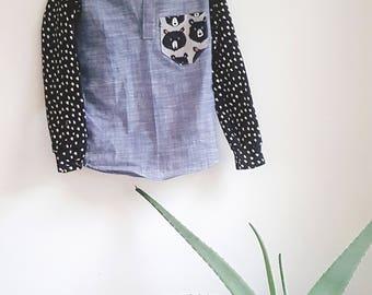 Teddy Pullover - Shirt, Bear, Fall shirt, Button up shirt, Oxford shirt, Dress Shirt, Prepster, Hipster, Knit