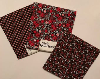 3 Fat Quarters - Fabric Quarters, Black, Red and White Prints for sewing, quilting