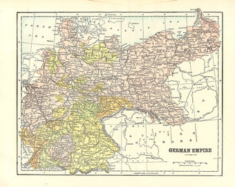 antique map of The German Empire from a 1904 encyclopedia, pretty pastel colors for unique home decor