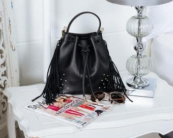 Black vegan leather bucket bag with fringe, Small crossbody bag, Fringe bucket bag, Black drawstring bucket bag, Everyday faux bucket bag