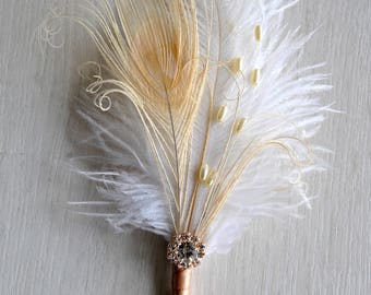 Rose Gold boutonniere Ostrich Feather Bridal Ivory Great Gatsby 1920s  groomsmen boutonnire  wedding groom feathers boutonniere button hole