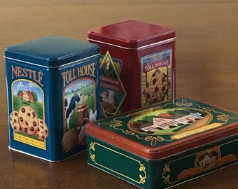 Nestle Toll House Cookie Tins, Vintage Set of 3 Red Green and Blue Tins, 1970s-80s