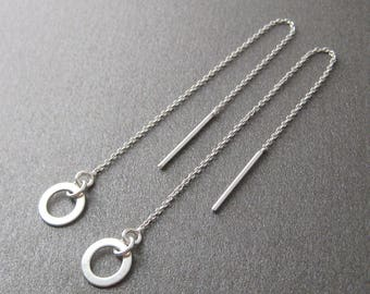 Traversing chains dangle earrings 925 sterling silver circles