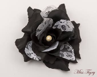 Flower brooch black and white lace - hair clip