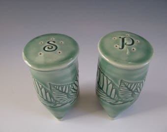 Handmade Ceramic Textured Salt and Pepper Shakers Green Pottery