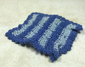MINIATURE AFGHAN or Throw, Medium & Light Blue Crochet, Granny Chic, Vintage Dollhouse Linen, Decor