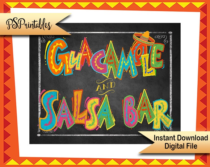 Printable Fiesta Sign, Guacamole sign, Salsa Bar sign, Taco Party Sign, Taco bar sign, birthday fiesta sign, wedding fiesta, graduation sign