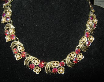 Retro Goldtone Necklace With Faux Ruby Crystals And Pearls. 18 Inches Long, Necklace With Hook Closure,