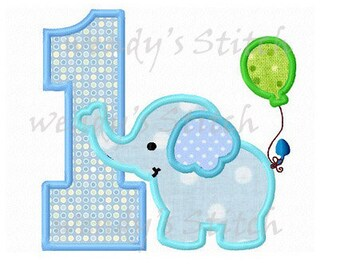 Elephant birthday number  1 applique  machine embroidery design instant download