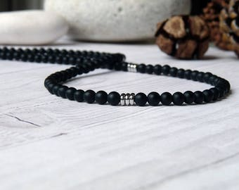 Black onyx and steel necklace. Black Onyx necklace for man. Thin necklace for man. Jewelry for man. Beaded necklace for man. Gifts for him