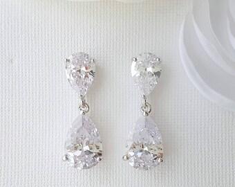 Bridal Teardrop Earrings, Crystal Wedding Earrings, Crystal Drop Earrings, Rose Gold Wedding Earrings, Wedding Jewelry, Clara
