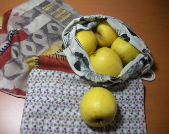 Three bags in bulk for fruits and vegetables - reusable and washable cotton