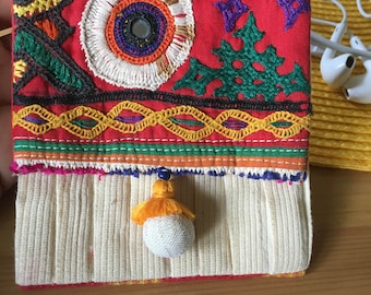 Kutch Embroidered Pleated Pouch