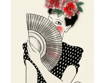 Fashion illustration wall art 4 for 3 SALE Carmen  -  4 X 6 print - 4 for 3 SALE