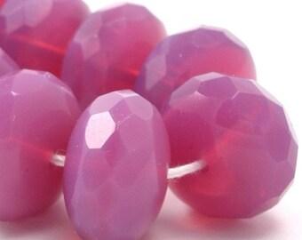 2 Czech Glass Gemstone Donut Beads - 17x11mm - Rose Opal CZF136