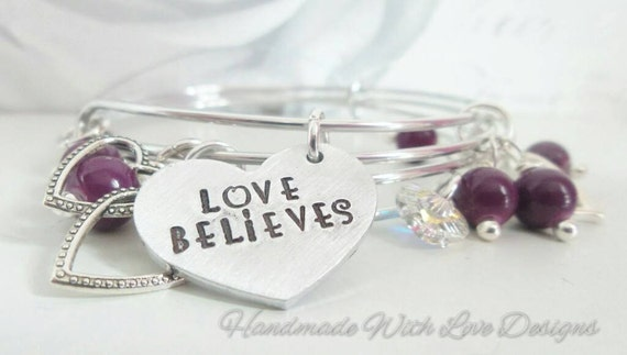 Handstamped adjustable  lightweight summer stacked bangle effect with beads and charms