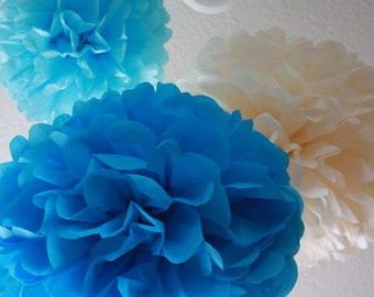 20 Tissue Pom Poms - Your Color Choice - Sale - Blue Party Decoartions