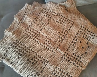 Chocolate Brown Teddy Bear Crocheted Baby Blanket-Free Shipping
